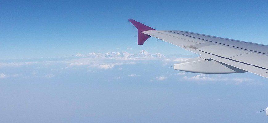 Вид на Эверест из окна самолёта. Перелет в Катманду