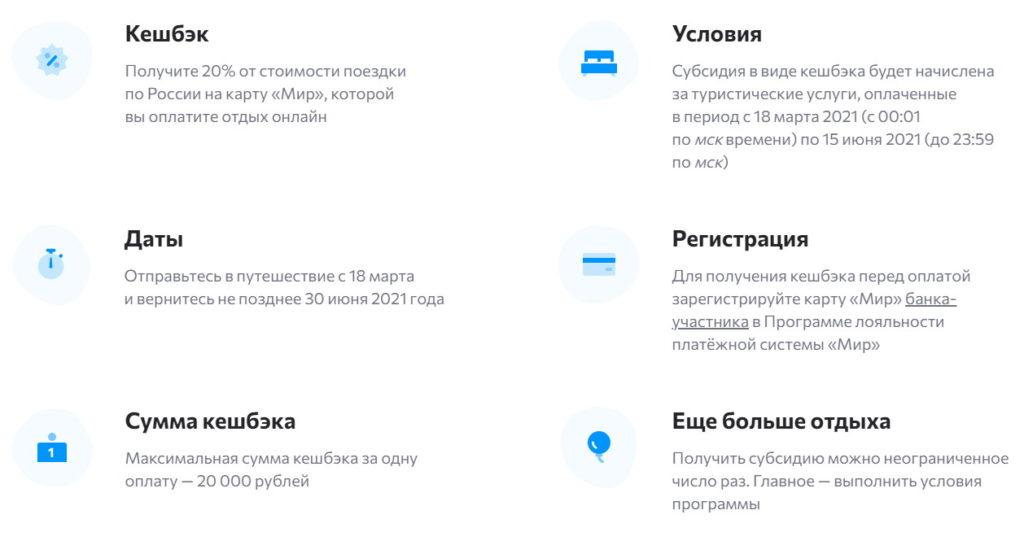 Кэшбэк за туры по России по карте Мир