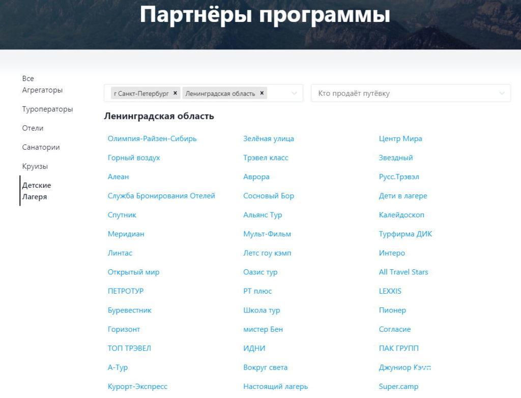 список детских лагерей с кэшбэком по карте мир