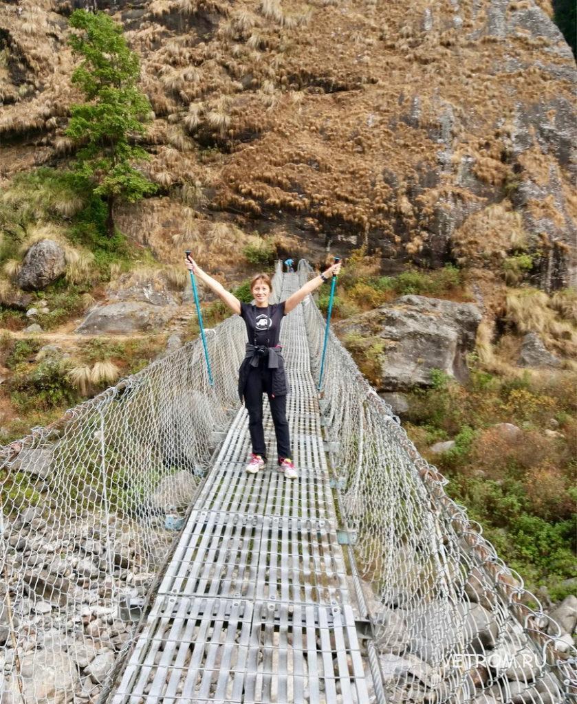 подвесной мост через реку Марсьянди Непал